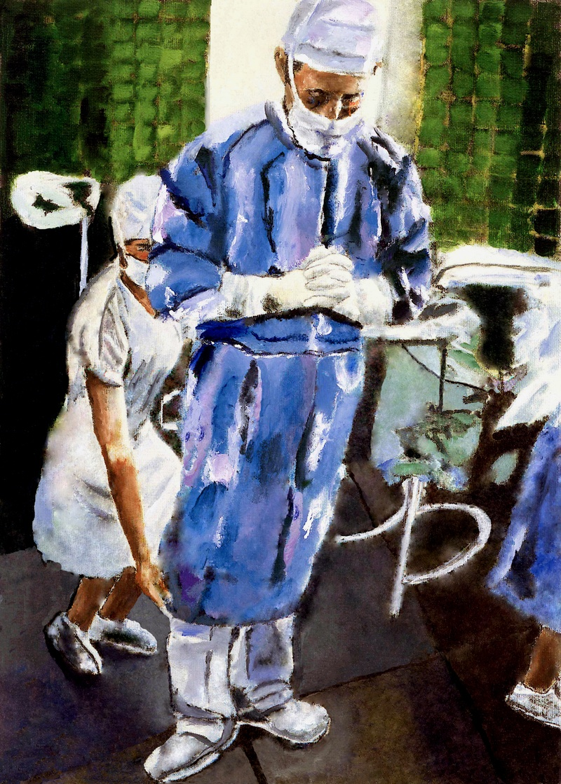 One of my favorite paintings by Joe Wilder - a surgeon's contemplation before surgery - I have this in my office