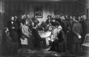 The famous painting of the deathbed of President Lincoln. Today his injury would not have killed him