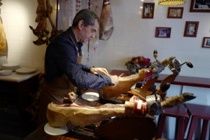 The famous cutter of ham, cutting Iberico hams - delicious
